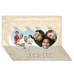 Twin Hearts 3D Greeting Card (8x4)