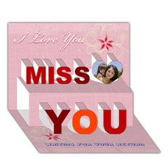Miss You 3D Greeting Card (7x5)