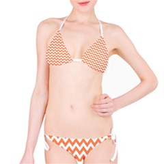 Orange And White Zigzag Bikini by Zandiepants