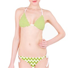 Spring Green And White Zigzag Pattern Bikini by Zandiepants