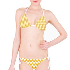 Sunny Yellow And White Zigzag Pattern Bikini by Zandiepants