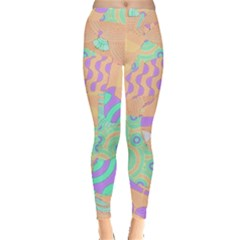 Tropical Summer Fruit Orange Lime Berry Leggings  by CrypticFragmentsColors