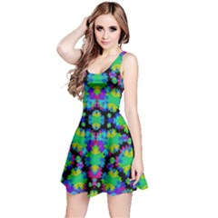Multicolored Floral Print Geometric Modern Pattern Sleeveless Dress by dflcprintsclothing