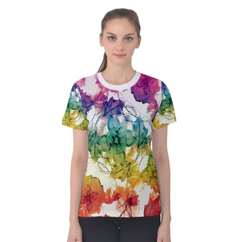 Multicolored Floral Swirls Decorative H Women s Cotton Tee by dflcprintsclothing