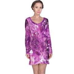 Amethyst Stone Of Healing Long Sleeve Nightdress by FunWithFibro