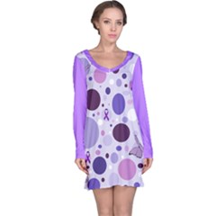 Purple Awareness Dots Long Sleeve Nightdress by FunWithFibro