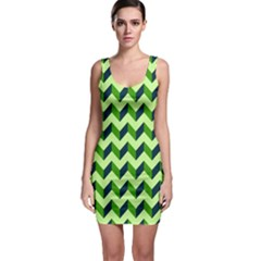 Green Modern Retro Chevron Patchwork Pattern Bodycon Dress by creativemom