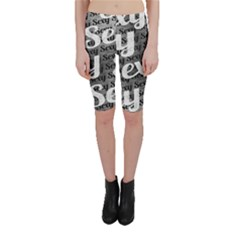 Typographic Collage Pattern Cropped Leggings  by dflcprintsclothing