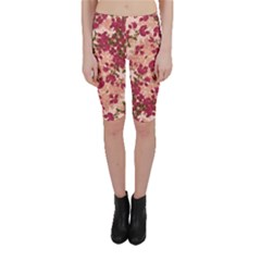 Vintage Floral Print Cropped Leggings  by dflcprintsclothing