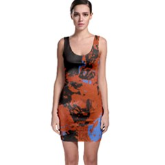 Orange Blue Black Texture Bodycon Dress by LalyLauraFLM