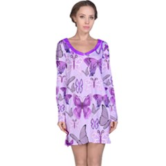 Purple Awareness Butterflies Long Sleeve Nightdress by FunWithFibro