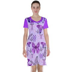 Purple Awareness Butterflies Short Sleeve Nightdress by FunWithFibro
