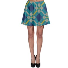 Squares And Stripes Patternskater Skirt by LalyLauraFLM