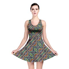 Colorful Tribal Geometric Print Reversible Skater Dress by dflcprintsclothing