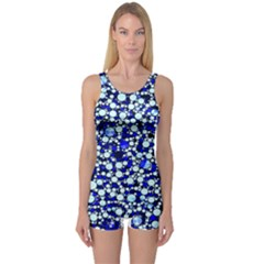 Bright Blue Cheetah Bling Abstract  One Piece Boyleg Swimsuit by OCDesignss