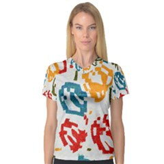 Colorful Paint Stokes Women s V Neck Sport Mesh Tee by LalyLauraFLM