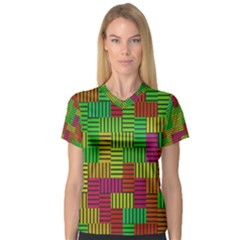 Colorful Stripes And Squares Women s V Neck Sport Mesh Tee by LalyLauraFLM
