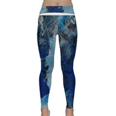 Blue Abstract No 2 Yoga Leggings by timelessartoncanvas