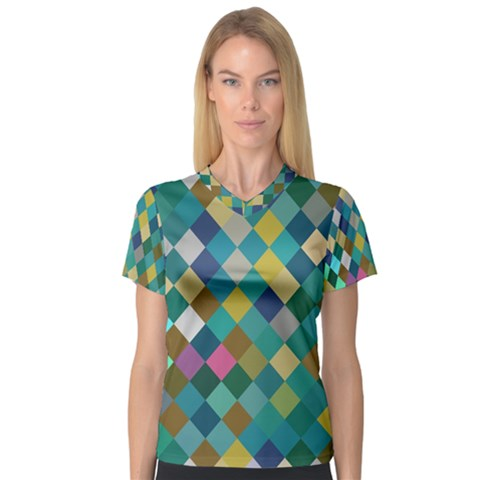Rhombus Pattern In Retro Colors Women s V-neck Sport Mesh Tee by LalyLauraFLM