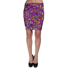 Purple Tribal Abstract Fish Bodycon Skirts by KirstenStarFashion