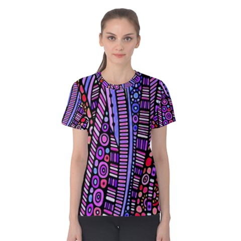 Stained Glass Tribal Pattern Women s Cotton Tee by KirstenStarFashion