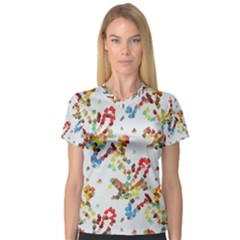 Colorful Paint Strokes Women s V Neck Sport Mesh Tee by LalyLauraFLM