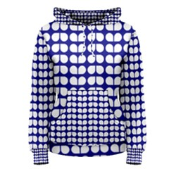 Blue And White Leaf Pattern Women s Pullover Hoodies by creativemom