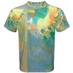 Abstract Flower Design In Turquoise And Yellows Men s Cotton Tees