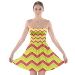 Chevron Yellow Pink Strapless Bra Top Dress by ImpressiveMoments