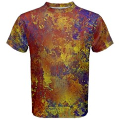Abstract In Gold, Blue, And Red Men s Cotton Tees by digitaldivadesigns