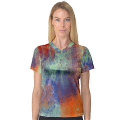 Abstract In Green, Orange, And Blue Women s V Neck Sport Mesh Tee by digitaldivadesigns
