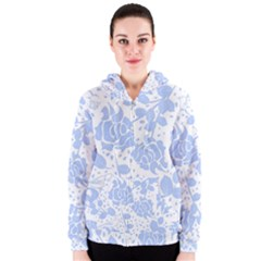 Floral Wallpaper Blue Women s Zipper Hoodies by ImpressiveMoments