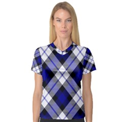 Smart Plaid Blue Women s V Neck Sport Mesh Tee by ImpressiveMoments