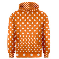 Orange And White Polka Dots Men s Zipper Hoodies