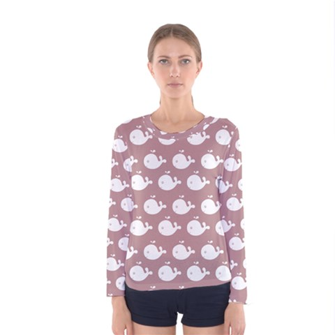 Cute Whale Illustration Pattern Women s Long Sleeve T Shirts by creativemom