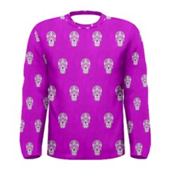 Skull Pattern Hot Pink Men s Long Sleeve T Shirts by MoreColorsinLife