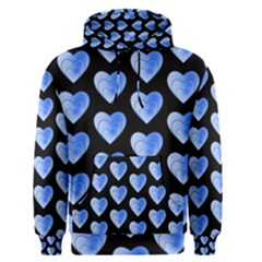 Heart Pattern Blue Men s Pullover Hoodies by MoreColorsinLife