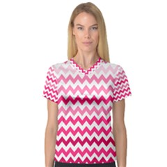 Pink Gradient Chevron Large Women s V Neck Sport Mesh Tee by CraftyLittleNodes