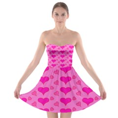 Hearts Pink Strapless Bra Top Dress by MoreColorsinLife