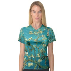 Blossoming Almond Tree Women s V Neck Sport Mesh Tee by fineartgallery