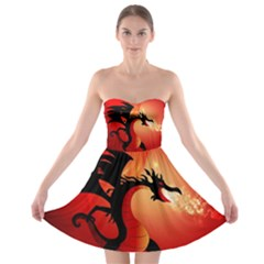 Funny, Cute Dragon With Fire Strapless Bra Top Dress by FantasyWorld7
