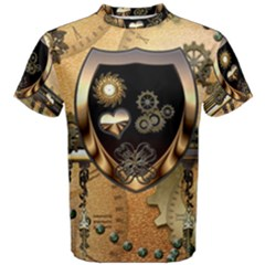 Steampunk, Shield With Hearts Men s Cotton Tees