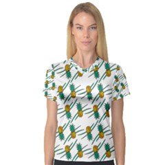 Pineapple Pattern Women s V Neck Sport Mesh Tee by Famous