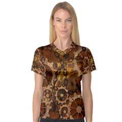 Steampunk In Rusty Metal Women s V Neck Sport Mesh Tee by FantasyWorld7