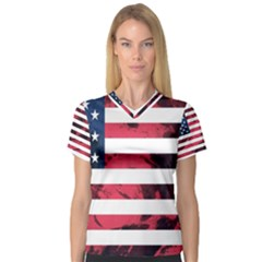 Usa5 Women s V Neck Sport Mesh Tee by ILoveAmerica