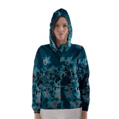 Unique Marbled Teal Hooded Wind Breaker (women)	 by MoreColorsinLife
