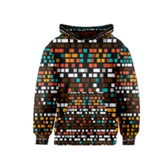 Squares Pattern In Retro Colors Kid s Pullover Hoodie by LalyLauraFLM