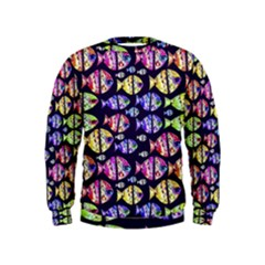 Colorful Fishes Pattern Design Boys  Sweatshirts by dflcprintsclothing