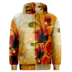 Awesome Colorful, Glowing Leaves  Men s Zipper Hoodies