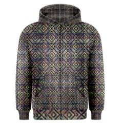 Ethnic Check Printed Men s Zipper Hoodies by dflcprintsclothing
